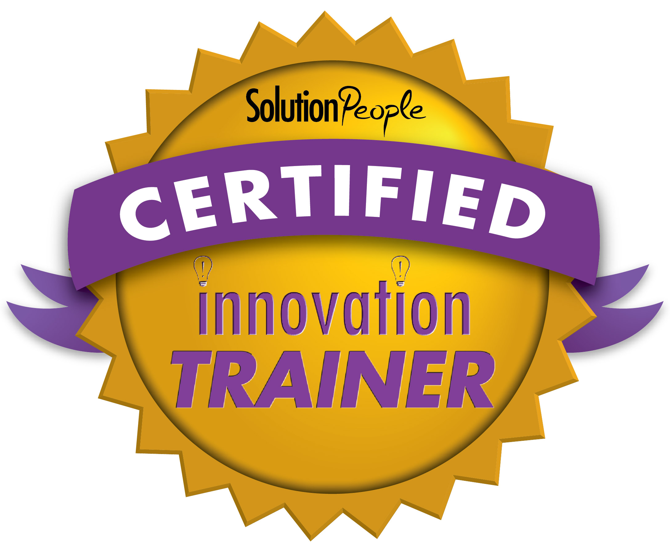 Seal of a certified innovation trainer from Solution People